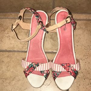 Sperry Floral & Striped Saylor Wedges 11 & 12
